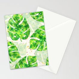Tropical Monstera Leaves Unique Pattern Stationery Cards