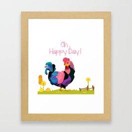 Oh Happy Day Hen Happy Decor Print Framed Art Print