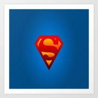 superhero Art Prints featuring SUPERHERO by Acus