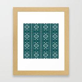 "Shibori Style ""Ladders"" on Teal Framed Art Print"