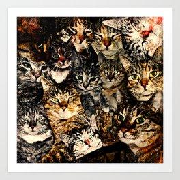 cat collage our beloved kitten cats watercolor splatters Art Print