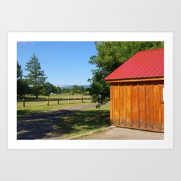 Wooden House with Red Roof Art Print