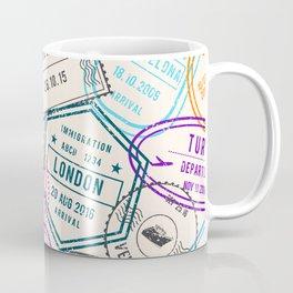 Passport to Adventure Vintage Style Travel Stamps Pattern Coffee Mug