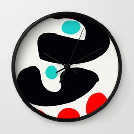 Abstract Art Minimalism Blue Black and Red Wall Clock
