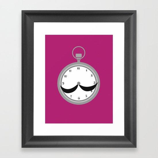 Mustache clock print Framed Art Print