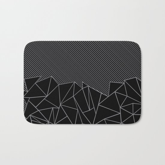 Ab Lines 45 Grey and Black Bath Mat