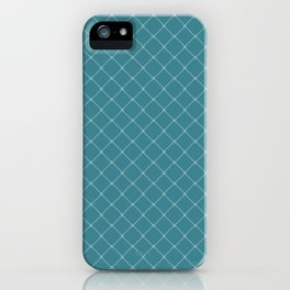 Ocean Blue Classic Diagonal Grid iPhone Case