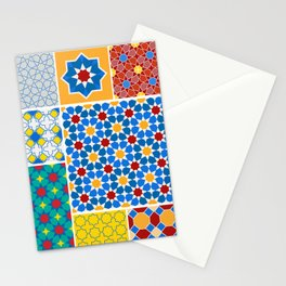 Moroccan pattern, Morocco. Patchwork mosaic with traditional folk geometric ornament. Tribal orienta Stationery Cards