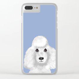 Toy Poodle white poodle pet portrait custom dog art dog breeds by pet friendly Clear iPhone Case