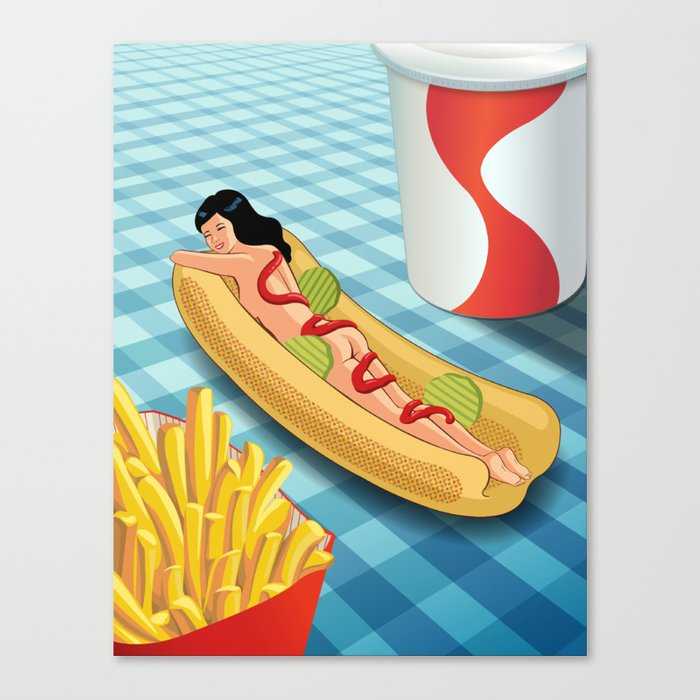 Hot Dog Girl Canvas Print