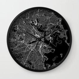 Boston Black Map Wall Clock