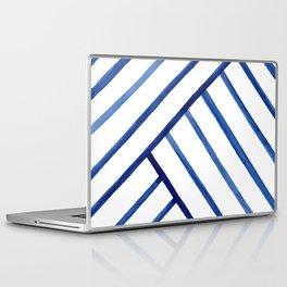 Watercolor lines pattern | Navy blue Laptop & iPad Skin