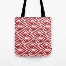 Madder Lake - red - Geometric Seamless Triangles Pattern Tote Bag