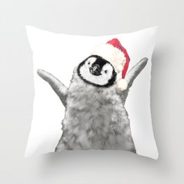 Christmas Baby Penguin Throw Pillow