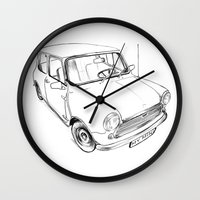 mini cooper Wall Clocks featuring Mini Cooper by Neko Naku