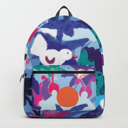 Bird and Dog in Blue Garden Backpack