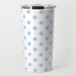 Brandeis Blue on White Snowflakes Travel Mug