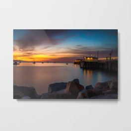 Here she comes again the sun rising at Port San Luis vila Beach Metal Print