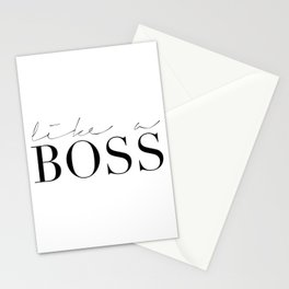 LIKE A BOSS, Office Wall Art,Office Decor,Boss Gift,Funny Home Decor,Home Office Desk,Motivational P Stationery Cards