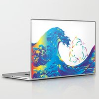 hokusai Laptop & iPad Skins featuring Hokusai Rainbow & rotating dolphins_D by FACTORIE