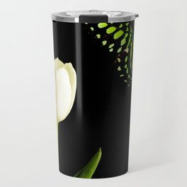 Beautiful butterfly and white tulip flower Travel Mug