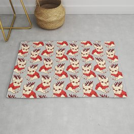 Cream Frenchie in Christmas Sweater Rug