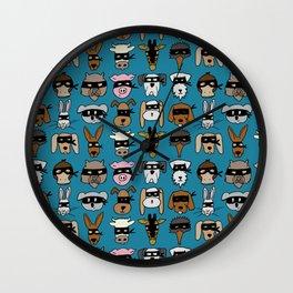 Ninja Animal Gang - Blue Wall Clock