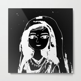 Indian girl black-white drawing Metal Print