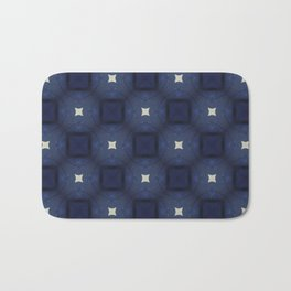 Blue and White Square Pattern Bath Mat