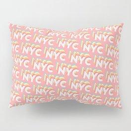 NYC, New York, USA Trendy Rainbow Text Pattern (Pink) Pillow Sham