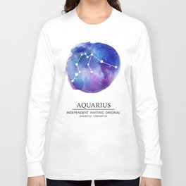 Aquarius Watercolor Zodiac Constellation Long Sleeve T-shirt