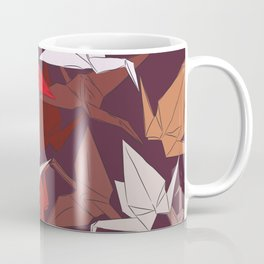 Japanese Origami paper cranes symbol of happiness, luck and longevity, sketch Coffee Mug