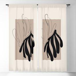 Florid - Henri Matisse Style Abstract Minimal Art Illustration - Black and Beige Floral Design Blackout Curtain