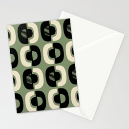 Retro Mid Century Modern Pattern 114 Black and Sage Green Stationery Cards