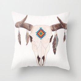 Southwest Feather Skull Throw Pillow