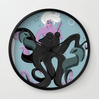 ursula Wall Clocks featuring Ursula by gabby ramirez
