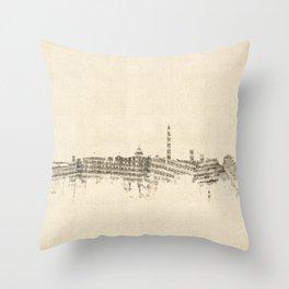 Washington DC Skyline Sheet Music Cityscape Throw Pillow