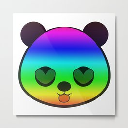 Panda Head Rainbow Metal Print