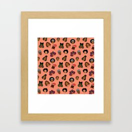 Black Hair Magic (Coral) Framed Art Print