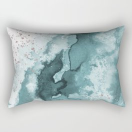 Watercolor meets Glitter - Turquoise Rose Gold - No 2 Rectangular Pillow