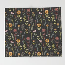 flat lay floral pattern on a dark background Throw Blanket