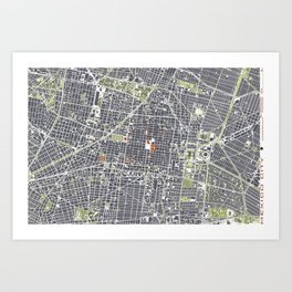 Mexico city map engraving Art Print