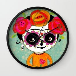 Day Of The Dead Frida with Black Cat Wall Clock