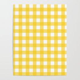 White & Yellow Gingham Pattern Poster