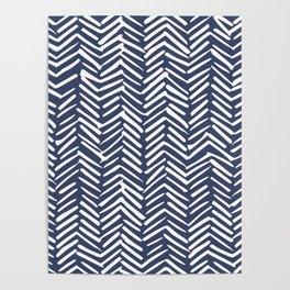 Boho Herringbone Pattern, Navy Blue and White Poster