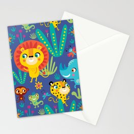 Kids Jungle Animals Monkey Lion Rhino Leopard Pattern Stationery Cards