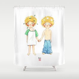 Little twin boy Shower Curtain