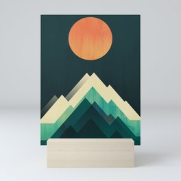 Ablaze on cold mountain Mini Art Print