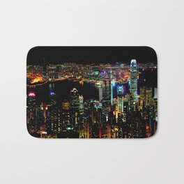 Hong Kong Colorful Black Night Bath Mat