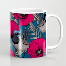 Fairy wren and poppies Coffee Mug